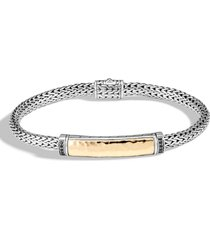 john hardy classic chain hammered bead bracelet, size medium in silver/gold at nordstrom