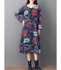 abito medio-lungo vintage a maniche lunghe con stampa floreale o-collo allentato