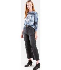 harper heritage high waist distressed crop jeans - black