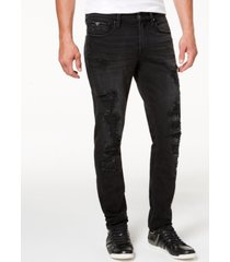 guess men's distressed slim-fit tapered jeans
