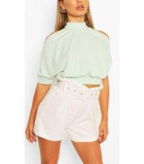 cold shoulder short sleeve top, mint