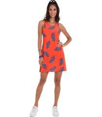 vestido manola regata estampado laranja com detalhes em azul