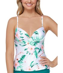 raisins juniors' printed aloha nights moonshadow underwire tankini top women's swimsuit