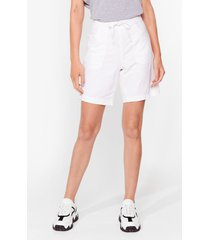 womens you're the real linen here longline shorts - white