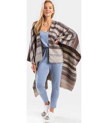 nikie striped frayed poncho - gray