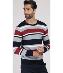 suéter masculino listrado em tricô gola careca azul marinho