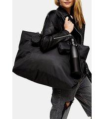 black multi pocket tote bag - black