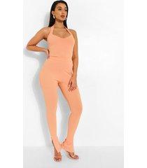 geribbelde broek met zijsplit, orange