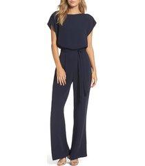 women's eliza j cap sleeve wide leg jumpsuit, size 4 - blue