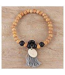 bone beaded stretch bracelet, 'blissful bohemian' (india)