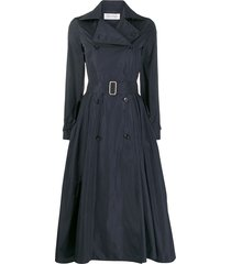 max mara belted flared trench coat - blue