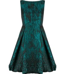talbot runhof sequin jacquard flared dress - green