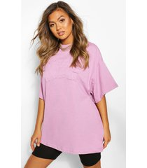 nyc embroidered slogan oversized t-shirt, lilac