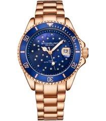 stuhrling women's rose gold stainless steel bracelet watch 39mm