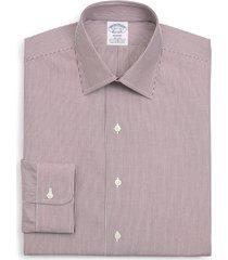 brooks brothers regent regular fit stripe dress shirt, size 17.5 - 34 in dark red at nordstrom