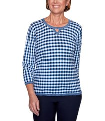 alfred dunner easy street studded gingham sweater