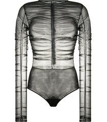 brognano ruched sheer bodysuit - black