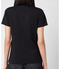 maison kitsuné women's tricolor fox patch t-shirt - black - l