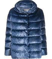 herno vertical stripe padded jacket - blue