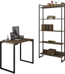conjunto escritã³rio mesa escrivaninha 90cm e estante 5 prateleiras estilo industrial new port f02 castanho - mpozenato - marrom - dafiti
