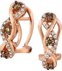 le vian women's 14k strawberry gold®, chocolate & vanilla diamonds® drop earrings