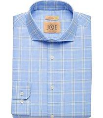 joe joseph abboud men's repreve® olive green plaid slim fit dress shirt - size: 15 32/33