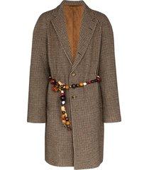 bode beaded belt single-breasted coat - neutrals