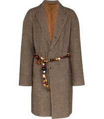 bode beaded belt single-breasted coat - neutrals