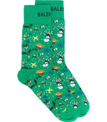 balenciaga christmas-print knitted socks - green