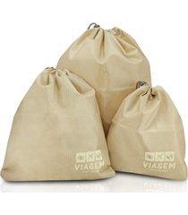 kit organizador de malas de 3 peças jacki design viagem bege