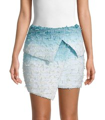 balmain women's asymmetric ombré tweed mini skirt - blue white - size 36 (4)