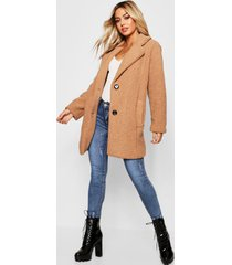 petite button through teddy coat, camel
