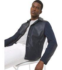 mk giacca in pelle accoppiata traforata - notte (blu) - michael kors