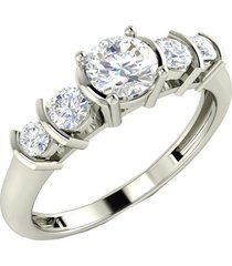 0.65ct white gold finish simulated diamond five stone engagement ring