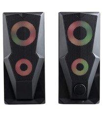 caixa de som gamer multilaser sp330 2.0 15w rms led rgb p2+usb stereo preto