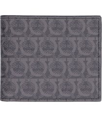 salvatore ferragamo all over logo print flap-over wallet