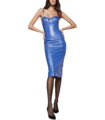 bardot sibella faux-leather sheath dress