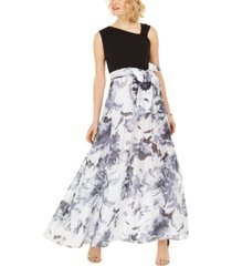 r & m richards asymmetrical-neck floral-skirted gown