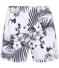 short masculino beach hibisco - off white