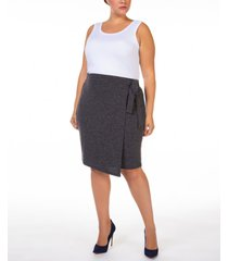 black tape plus size wrap knit skirt