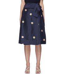 dot print waist wrap belt silk midi skirt