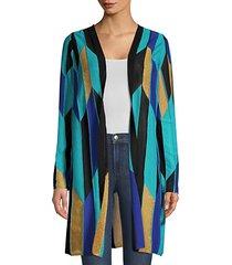 geometric-knit longline cardigan sweater