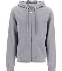 lanvin logo print full zip hoodie