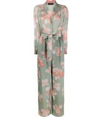 emporio armani blossom print silk-chiffon jumpsuit - green
