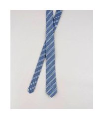 gravata masculina listrada em jacquard azul