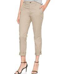 pantalon girlfriend khaki mujer gris gap