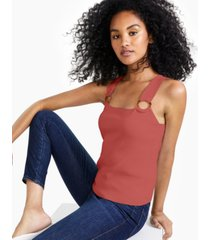bar iii square-neck o-ring sweater tank top, created for macy's