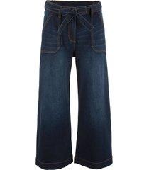 7/8-jeans med hög midja och knytskärp, ledig passform