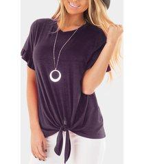 purple knot crew cuello camisetas de manga corta