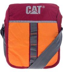bolso manos libres vinotinto-naranja caterpillar table bag rock
